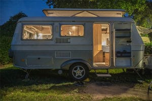 cozy camper leveled on site