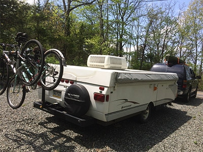 Rear of bike rack on pop up camper